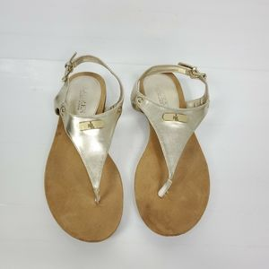 Ralph Lauren Thongs Sandals gold LEATHER uppers